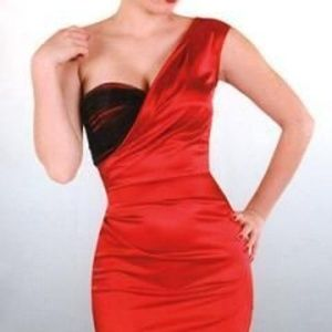 Stop Staring Red and Black Satin Wiggle Dress S